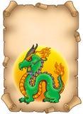Pergamena con il drago cinese Fotografie Stock