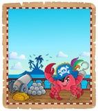 Pergamena con il granchio del pirata sulla nave royalty illustrazione gratis