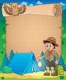 Pergamena con il tema 3 del ragazzo dell'esploratore Immagine Stock