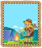 Pergamena con il tema 2 della ragazza dell'esploratore Immagini Stock Libere da Diritti