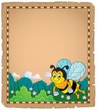 Pergamena con il tema felice 1 dell'ape Fotografie Stock Libere da Diritti