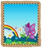 Pergamena con il tema felice 2 della farfalla Immagine Stock Libera da Diritti