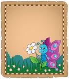 Pergamena con il tema felice 3 della farfalla Fotografia Stock