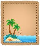 Pergamena con il tema tropicale 1 dell'isola Immagini Stock