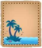 Pergamena con il tema tropicale 2 dell'isola Immagine Stock