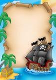 Pergamena con l'imbarcazione del pirata Fotografia Stock Libera da Diritti