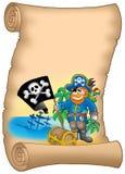 Pergamena con la bandierina della holding del pirata Immagini Stock