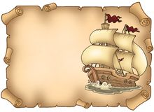 Pergamena con la vecchia barca a vela Fotografie Stock