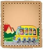 Pergamena con lo scuolabus 1 Fotografie Stock Libere da Diritti