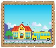 Pergamena con lo scuolabus 5 Fotografie Stock Libere da Diritti