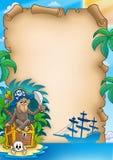 Pergamena del pirata con la scimmia Fotografia Stock Libera da Diritti