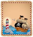 Pergamena 3 di tema del pirata Immagine Stock