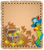 Pergamena 9 di tema del pirata Immagine Stock
