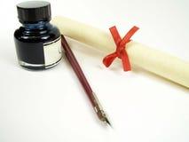 Pergamena e penna dell'inchiostro Fotografie Stock