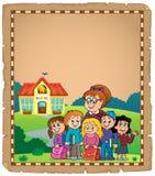 Pergament 1 för tema för skolagrupp Royaltyfri Fotografi