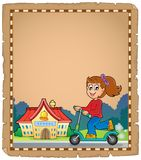 Pergament med den near skolan för flicka Royaltyfri Foto