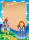 Pergament med near slott 1 för prinsessa vektor illustrationer