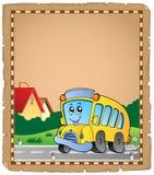 Pergament med skolbuss 2 Arkivbild
