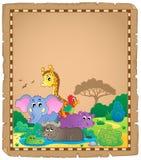 Pergament mit afrikanischen Tieren 1 Lizenzfreies Stockfoto