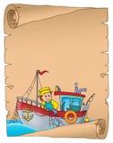 Pergament mit Fischerbootthema 1 Lizenzfreie Stockfotos