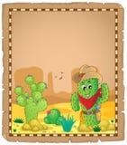 Pergament mit Kaktusthema 1 Stockfotografie