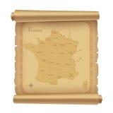 Pergament mit Karte von Frankreich Lizenzfreie Stockfotos