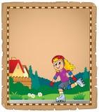 Pergament mit Rollschuhlaufenmädchen Stockfotografie