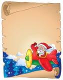 Pergament mit Santa Claus in der Fläche Stockfotos