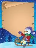 Pergament mit Schneemann auf Schlitten Stockbilder