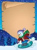 Pergament mit Schneemann auf Snowboard Stockbild