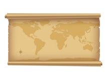 Pergament mit worldmap. Lizenzfreie Stockfotografie