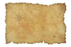 Pergament-Schatzkarte der Piraten lokalisiert mit Stockfoto