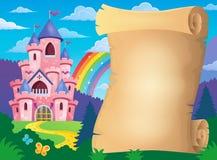Pergament und rosa Schloss Stockfotografie