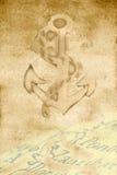Pergamentkarte und -anker Lizenzfreie Stockfotografie