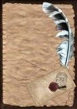 Pergamentpapier mit Feder Lizenzfreie Stockbilder