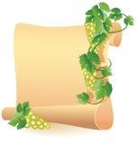 Pergamin dla twój teksta i winogron Zdjęcie Royalty Free