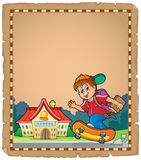 Pergamin z chłopiec pobliską szkołą Obrazy Stock