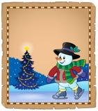 Pergaminho com boneco de neve de patinagem 1 Fotografia de Stock