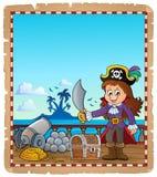 Pergaminho com a menina do pirata no navio Fotografia de Stock