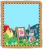 Pergaminho com pintor do coelhinho da Páscoa Foto de Stock Royalty Free