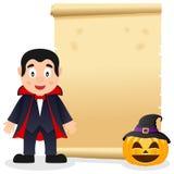 Pergaminho de Dia das Bruxas com Dracula Fotos de Stock Royalty Free