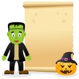 Pergaminho de Dia das Bruxas com Frankenstein Imagens de Stock