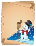 Pergaminho 1 do assunto do boneco de neve do inverno ilustração stock