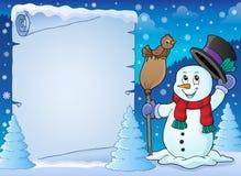 Pergaminho 2 do assunto do boneco de neve do inverno ilustração royalty free