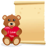 Pergaminho do dia de Teddy Bear Valentine s Fotos de Stock Royalty Free