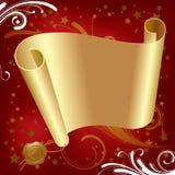 Pergaminho do ouro do Natal & dos Novo-Anos Fotos de Stock Royalty Free