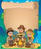 Pergaminho 1 do tema dos escuteiros das crianças Foto de Stock Royalty Free