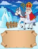 Pergaminho pequeno e Sinterklaas no cavalo ilustração stock