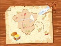 Pergaminho velho com mapa e punhal do pirata Fotos de Stock Royalty Free