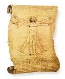 Pergaminho velho do homem de Vitruvian de Leonardo imagem de stock